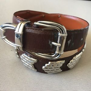 Women's Brown With Silver Leather Belt